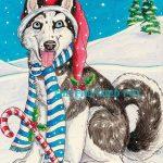 Siberian Husky Christmas Card Giveaway