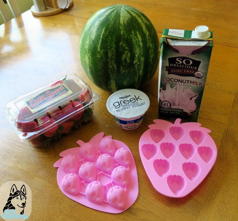 DIY Frozen Strawberry Watermelon Dog Treats
